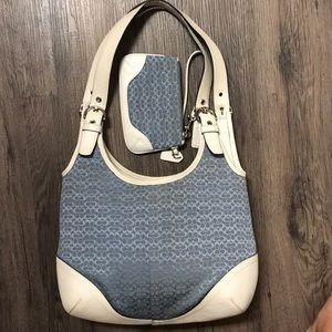 Blue Coach Bag and wristlet